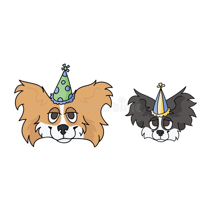Cute Cartoon Papillon Dog With Party Hat Vector Clipart Pedigree Kennel Doggie Breed For Dog Lovers Purebred Domestic Stock Vector Illustration Of Kawaii Isolated 185000138