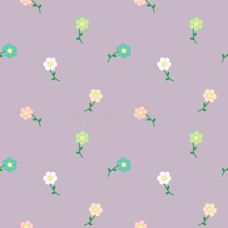 Cute Cartoon Pastel Daisy Flowers Seamless Pattern ...