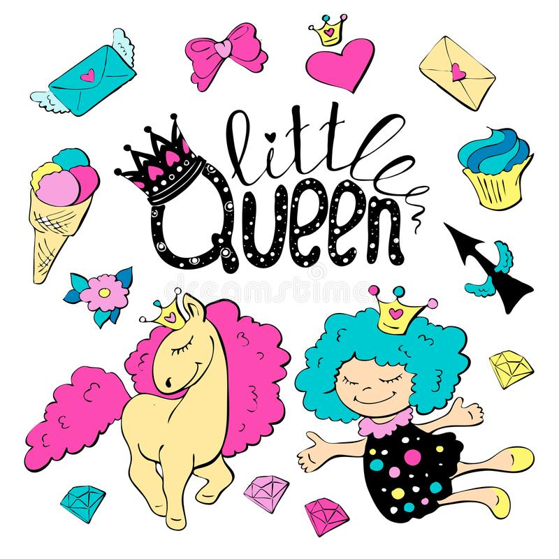 Cute cartoon patch princess with unicorns, hearts, cats and other elements for girls. stock illustration