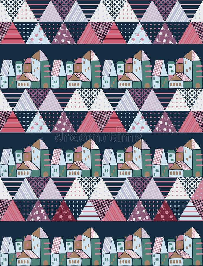 Cute cartoon patchwork pattern with stylized town and patches in shape of triangles. Print for fabric, wrapping design, wallpaper. Vector illustration vector illustration