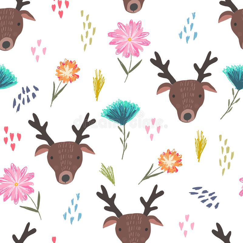Cute cartoon pattern with deers, dots and flowers vector illustration
