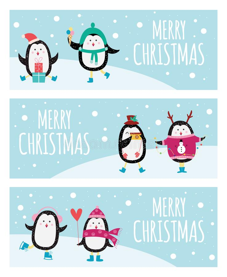 Cute cartoon penguin banner set - Merry Christmas greeting cards with cute animals. Dressed in cozy winter clothes, eating ice cream, giving gifts, isolated vector illustration