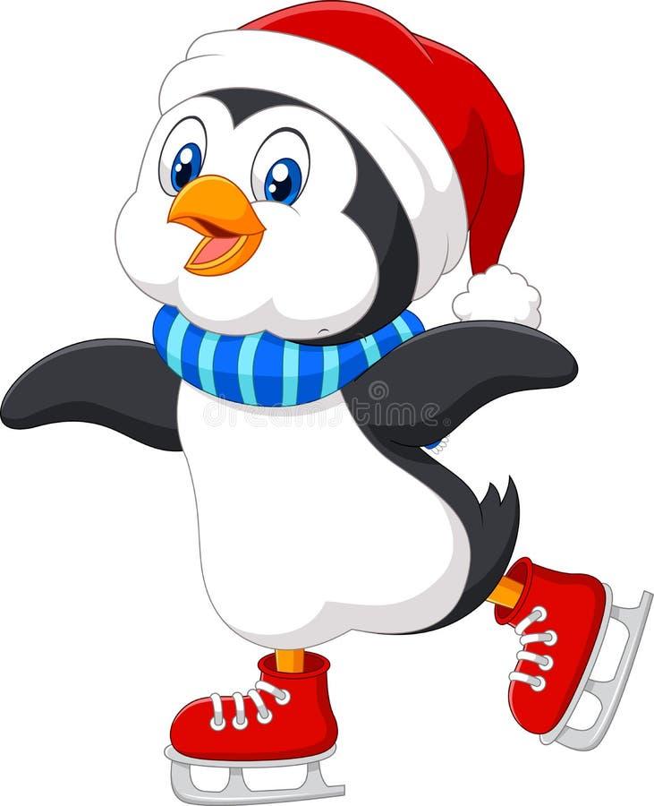 Cute cartoon penguin doing ice skating isolated on white background. Illustration of Cute cartoon penguin doing ice skating isolated on white background stock illustration