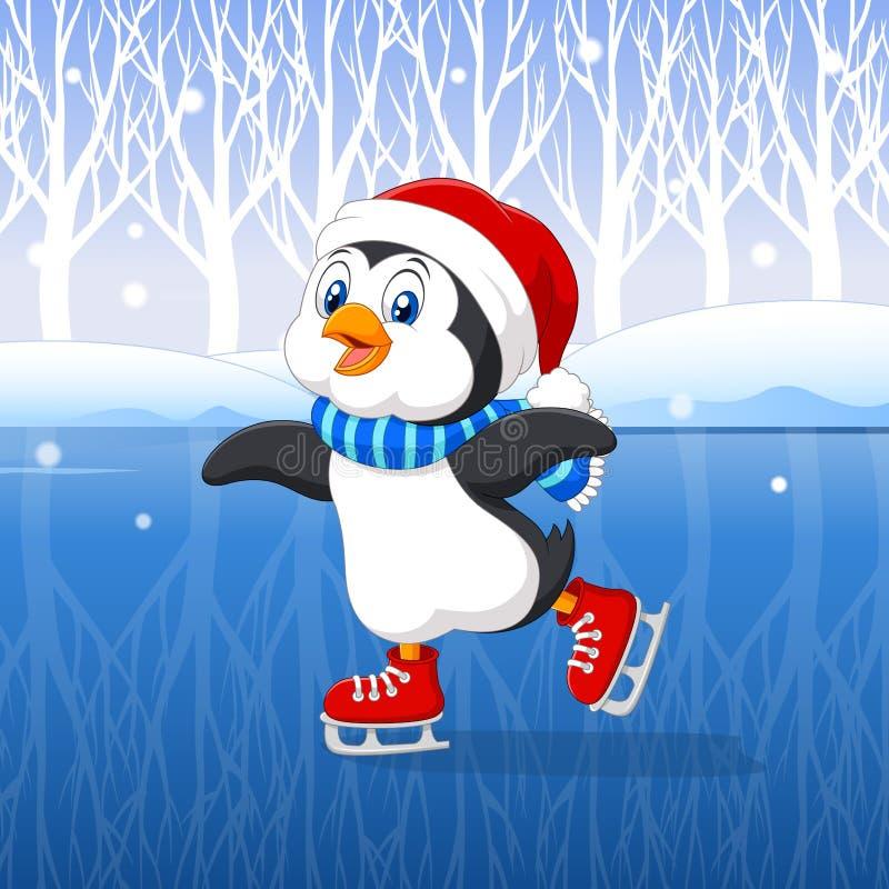 Cute cartoon penguin doing ice skating with winter background. Illustration of Cute cartoon penguin doing ice skating with winter background vector illustration