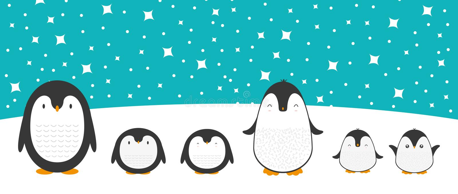 Cute Cartoon Penguin Family Greeting Card For Merry Christmas And New Year S Celebration Under Snow And Stars Doodle Vector Stock Vector Illustration Of Funny Draw 174211396