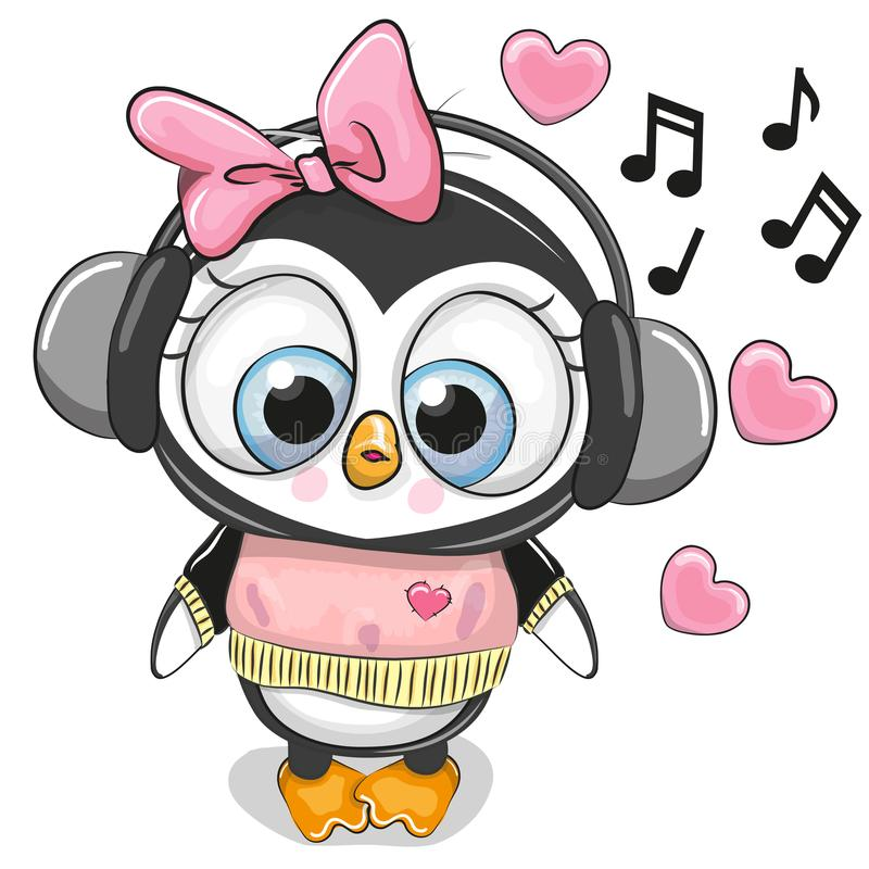 Cute cartoon Penguin Girl with headphones. And hearts royalty free illustration