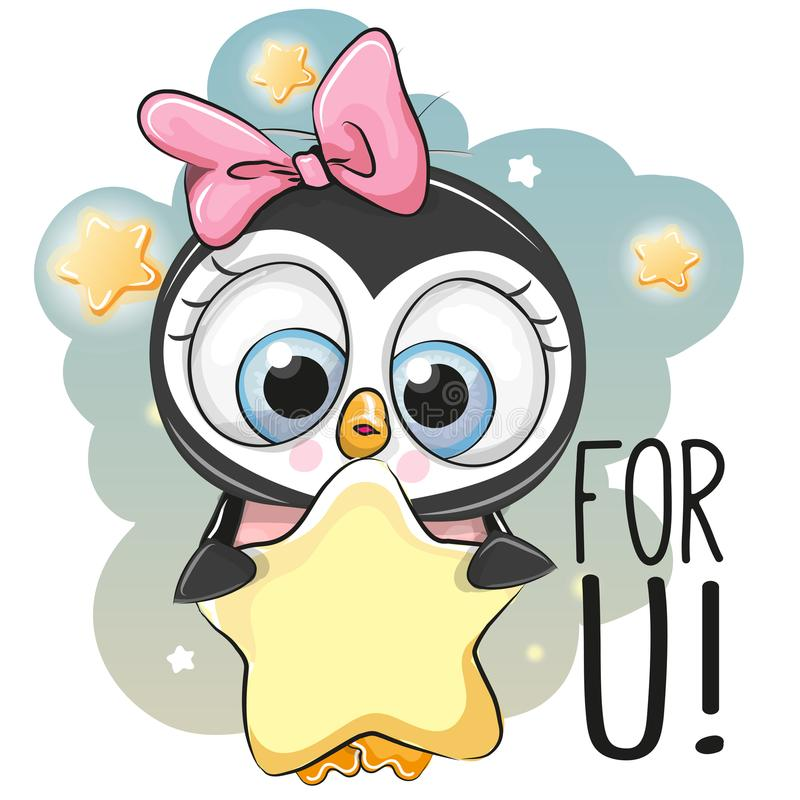Cute Cartoon Penguin girl with star. On the stars background royalty free illustration