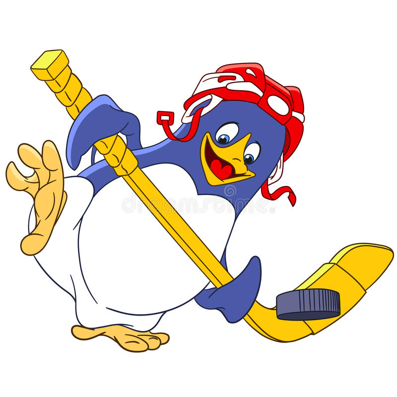 Cute cartoon penguin. Cute happy and sportive cartoon penguin - hockey player with a hockey-stick and protective helmet is trying to score a goal, on a white vector illustration