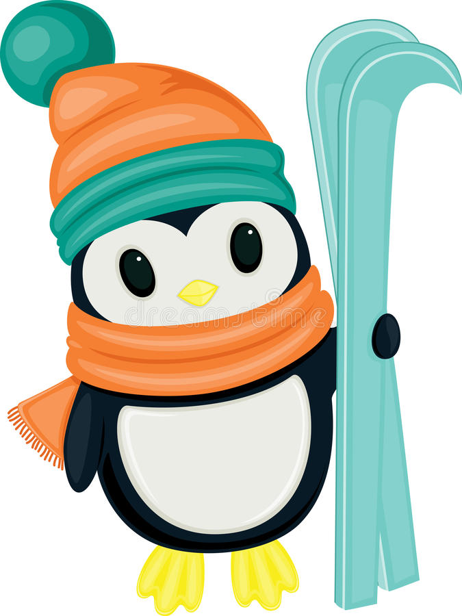 Cute cartoon penguin with skis. Isolated on white background vector illustration