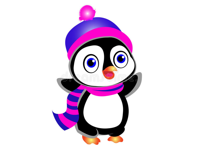 Cute Cartoon Penguin. Cute cartoon vector penguin wearing a scarf and a winter cap. Fully editable .ai file is also provided stock illustration