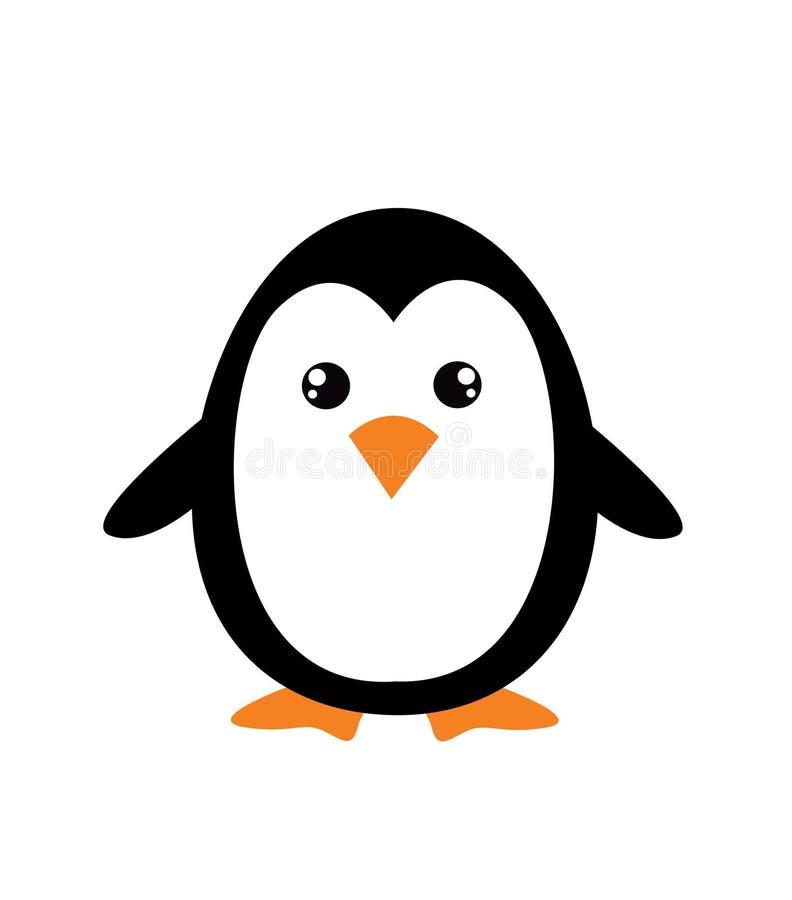Cute cartoon penguin. On white background stock illustration