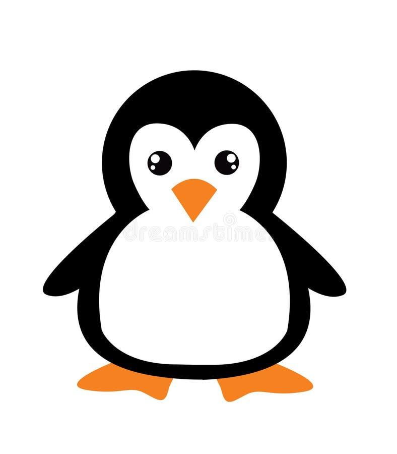 Cute cartoon penguin. On white background royalty free illustration