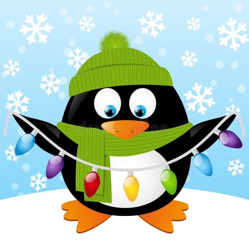 Cute cartoon penguin. On winter background stock illustration