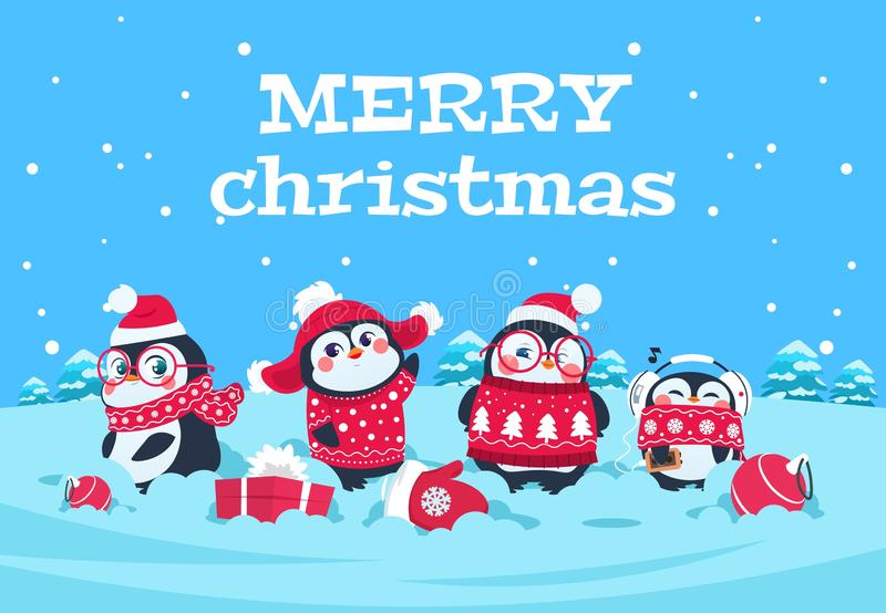 Cute cartoon penguins. Christmas baby penguin arctic characters in snowy winter landscape. Merry christmas greeting vector illustration