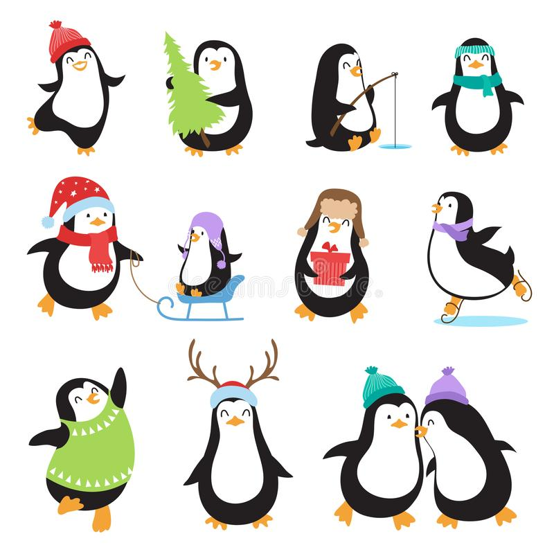 Cute cartoon penguins. Winter holidays vector animals set stock illustration