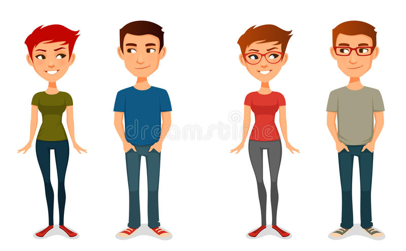 Cute cartoon people in casual outfits. With glasses stock illustration