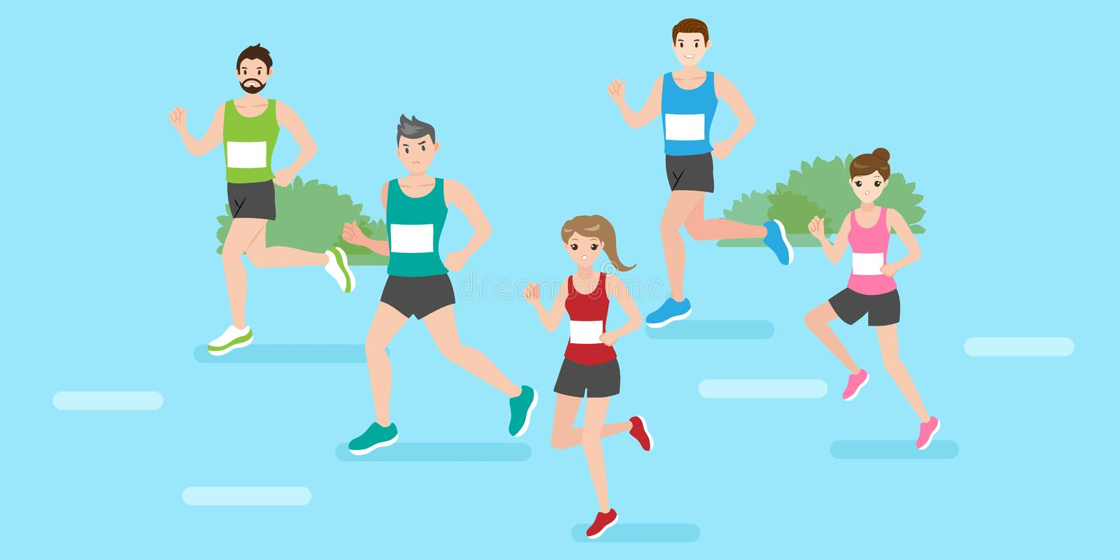People are running. Cute cartoon people are running for your sport concept vector illustration