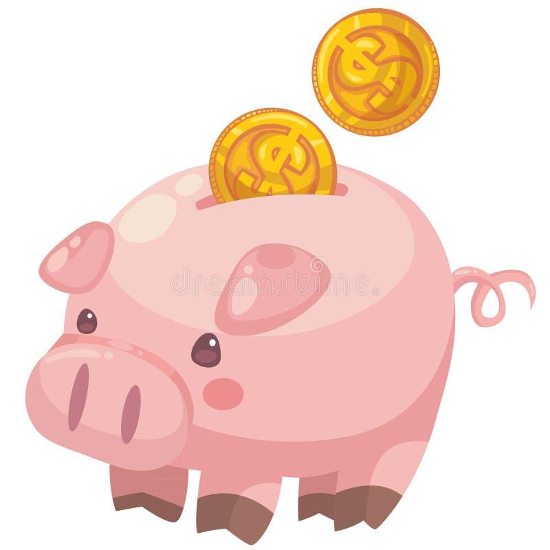 Cute Cartoon Piggy Bank With Coins Stock Vector ...
