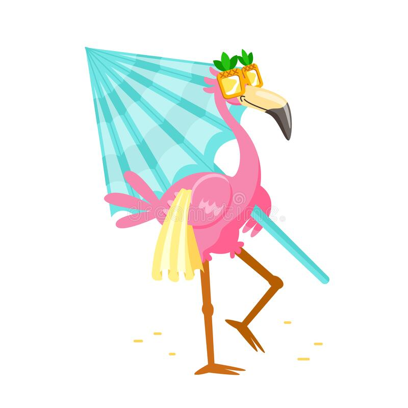 Free Cute Cartoon Pink Flamingo In Funny Sunglasses With Towel And Umbrella Walk To Beach. Character Summer Vacation Stock Photos - 185957903