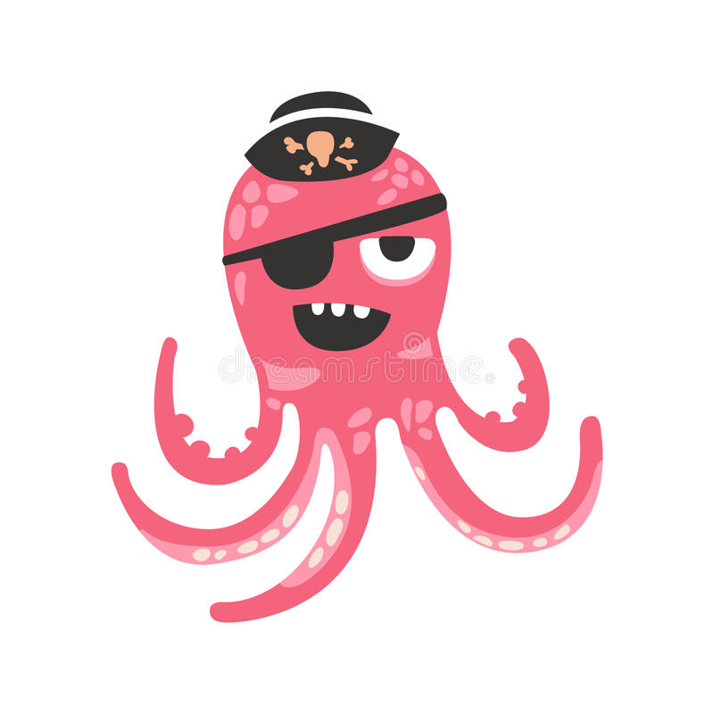 Cute cartoon pink octopus character pirate with an eye patch, funny ocean coral reef animal vector Illustration royalty free illustration
