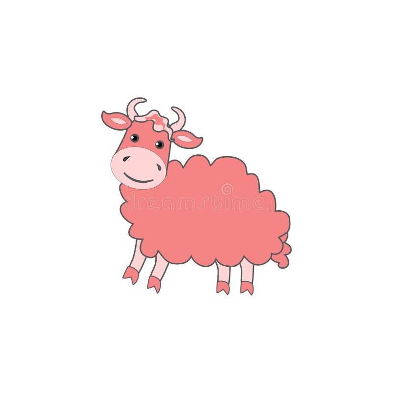 Cute cartoon pink yak, kid farm animal vector funny illustration isolated on white background, decorative adorable royalty free illustration
