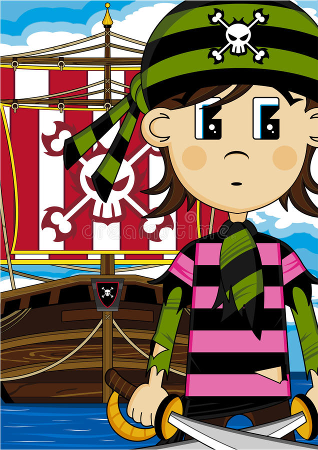 Cute Cartoon Pirate and Ship. Bandana Pirate Cartoon Character and Pirate Galleon Scene - Vector Illustration An EPS file is also available stock illustration