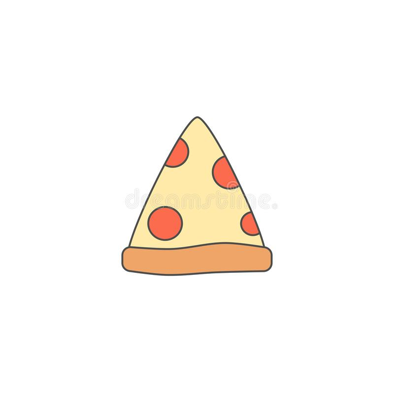 Cute cartoon pizza slice doodle vector icon isolated on white background stock illustration