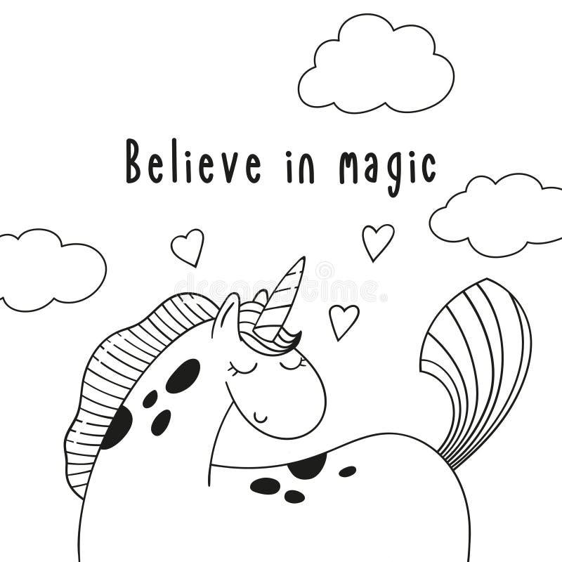 Cute cartoon pony unicorn and inscription Believe in magic. stock illustration