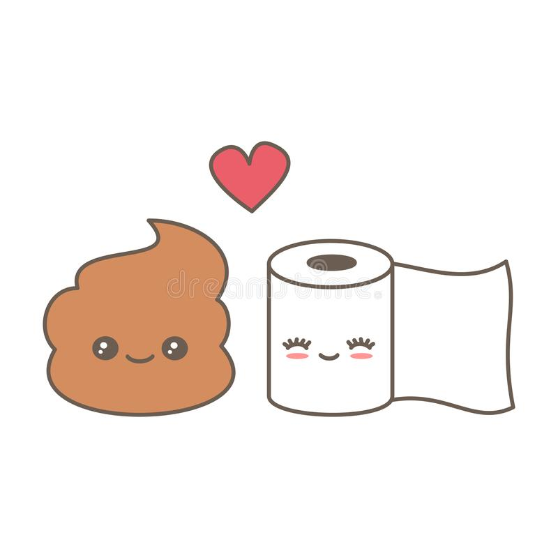 Cute cartoon poop and toilet paper in love funny vector illustration royalty free illustration