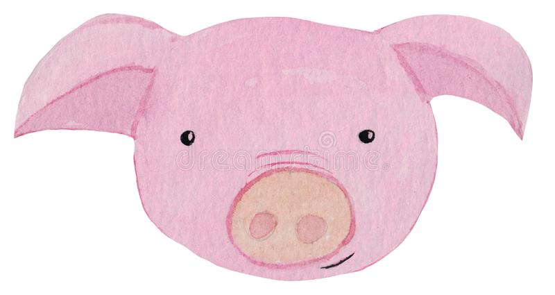 Cute cartoon portrait of a pig. watercolor illustration for prints, posters, design and magazines. stock illustration