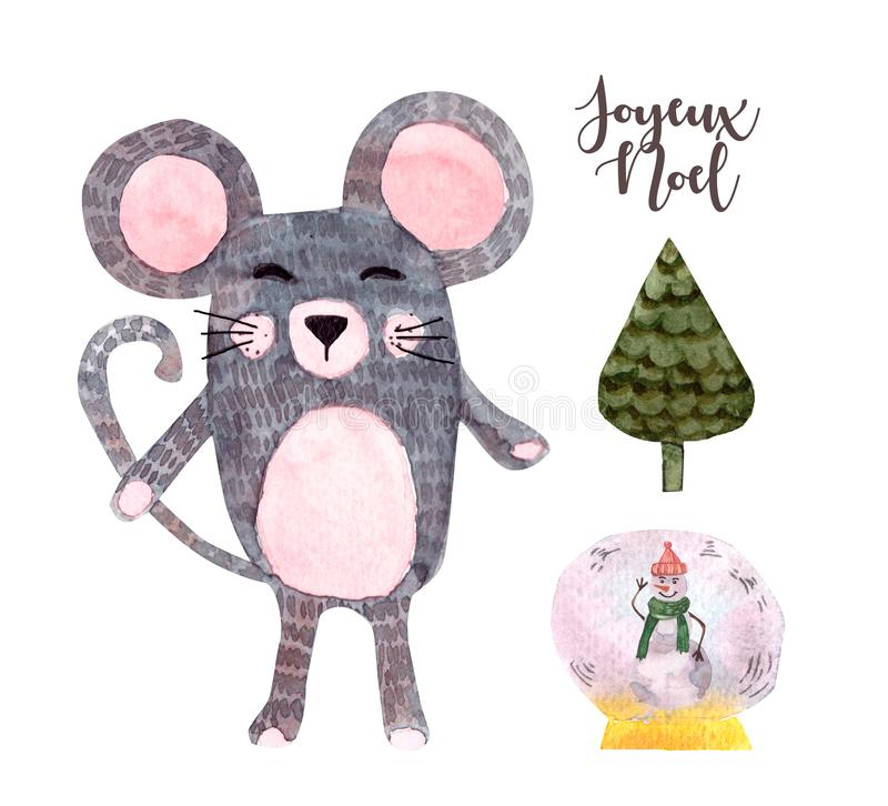 Cute cartoon pretty little gray mouse.Christmas watercolor illustration, hand painted, isolated. Perfect for wallpaper,print,postcard design,invitations stock photography