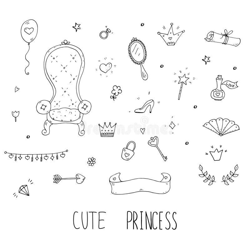 Cute cartoon princess collection . Doodle fairytale set for kids. Hand drawn vector illustration isolated on white. Cute cartoon princess collection . Doodle stock illustration