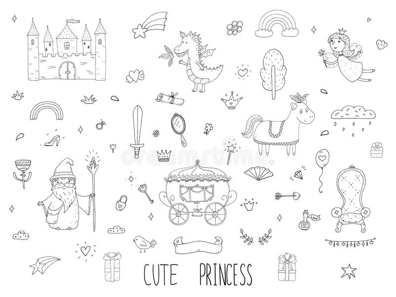 Cute cartoon princess collection . Doodle fairytale set for kids. Hand drawn vector illustration isolated on white. Cute cartoon princess collection . Doodle vector illustration