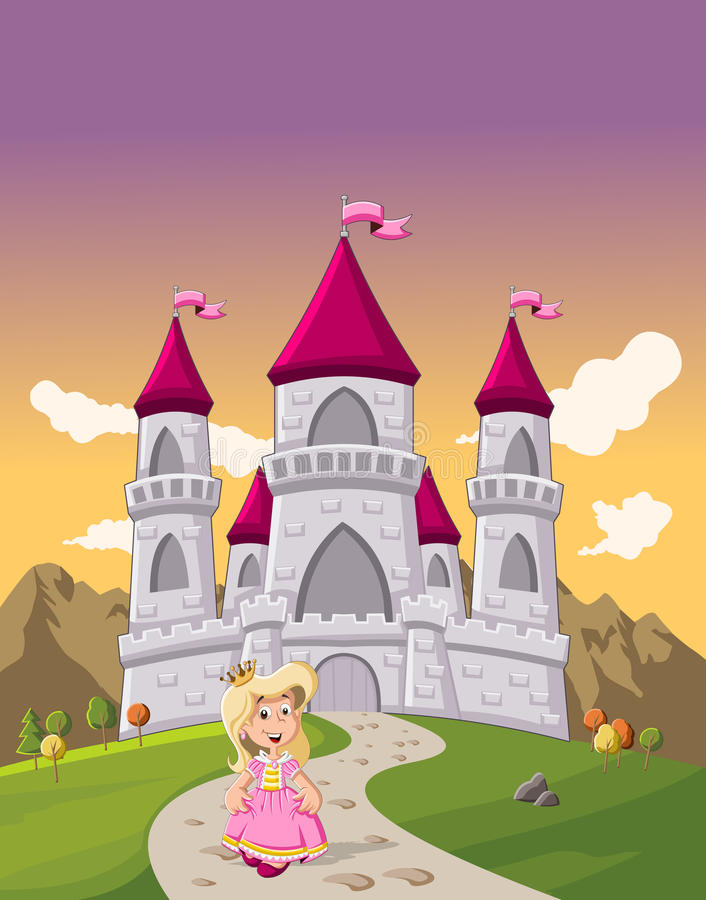 Cute cartoon princess girl in front of a castle. Cute cartoon princess girl in front of a fairy tale castle stock illustration