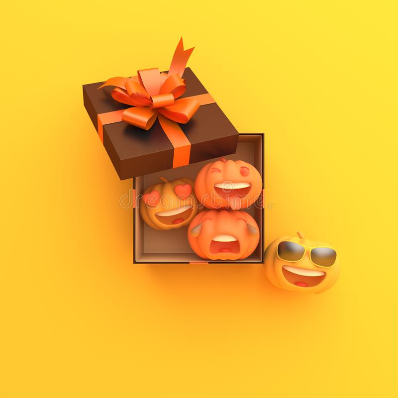 Cute cartoon pumpkin and blank white frame on orange background, copy space text area. Design creative concept of happy halloween royalty free illustration