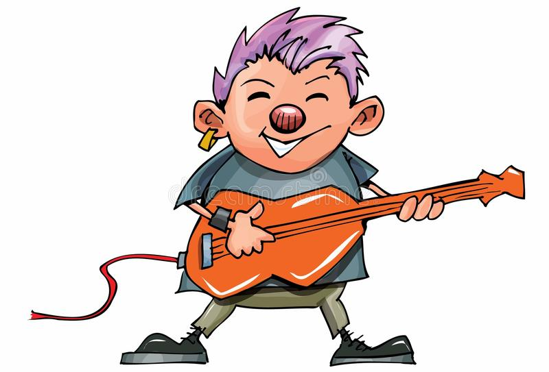 Download Cute Cartoon Punk Rocker With Guitar Stock Vector - Image: 19682396