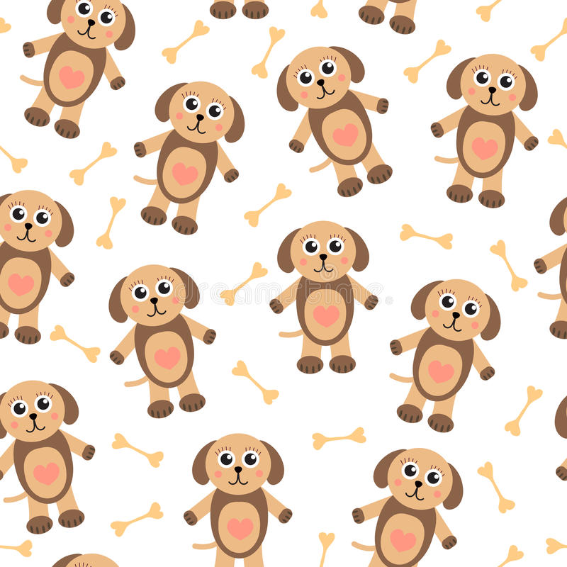 Cute cartoon puppy dog seamless texture. Children's background fabric. Vector illustration royalty free illustration