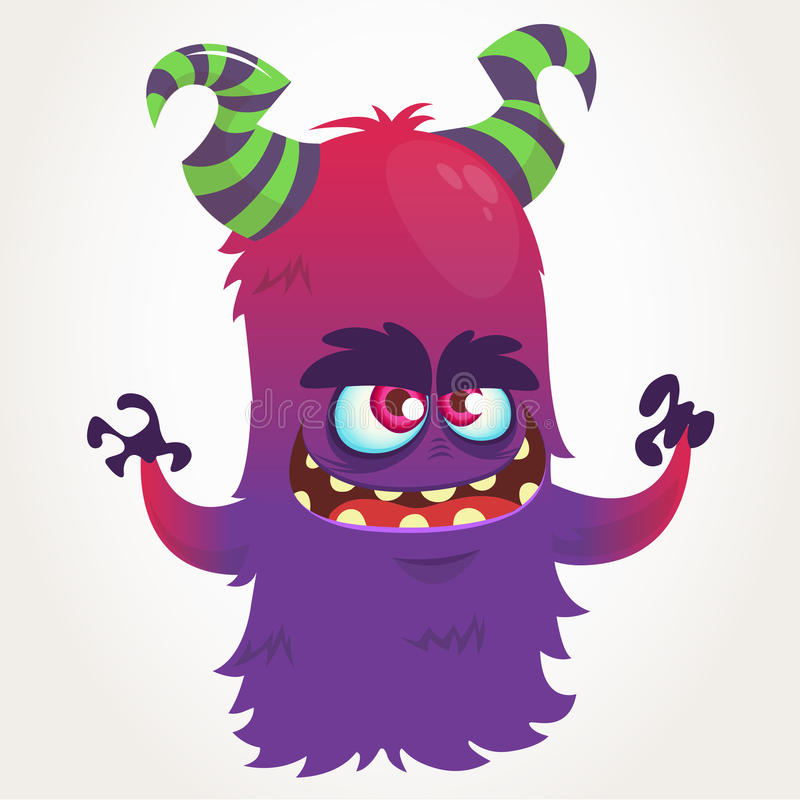 Cute cartoon purple horned monster . Halloween vector flying monster mascot stock illustration