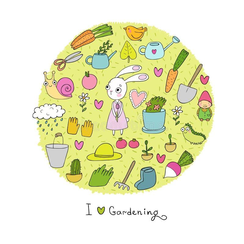 Garden Cute Cartoon: Cute Cartoon Rabbit Girl And Set Of Garden Objects. Plants
