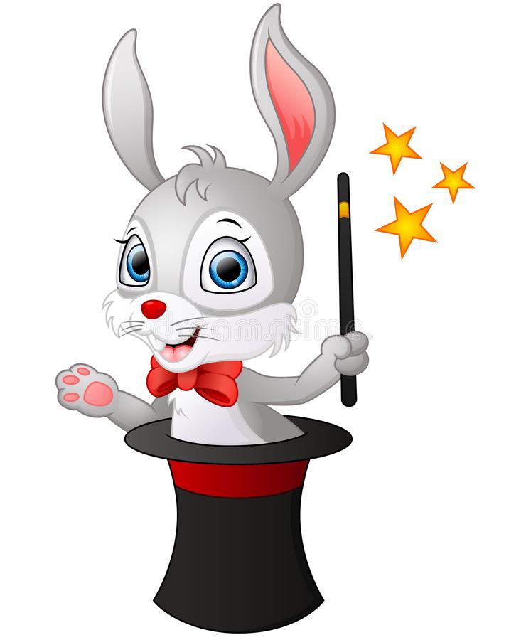 Cute cartoon Rabbit in a magic hat with a magic wand stock illustration