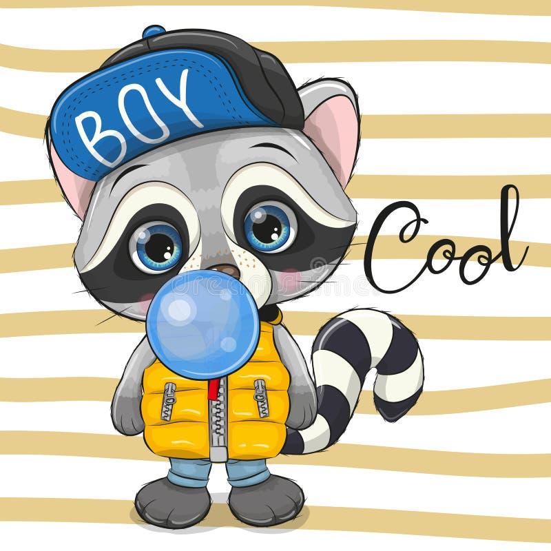 Cute Cartoon Raccoon with bubble gum. Cute Cartoon Raccoon in a hat with blue bubble gum vector illustration
