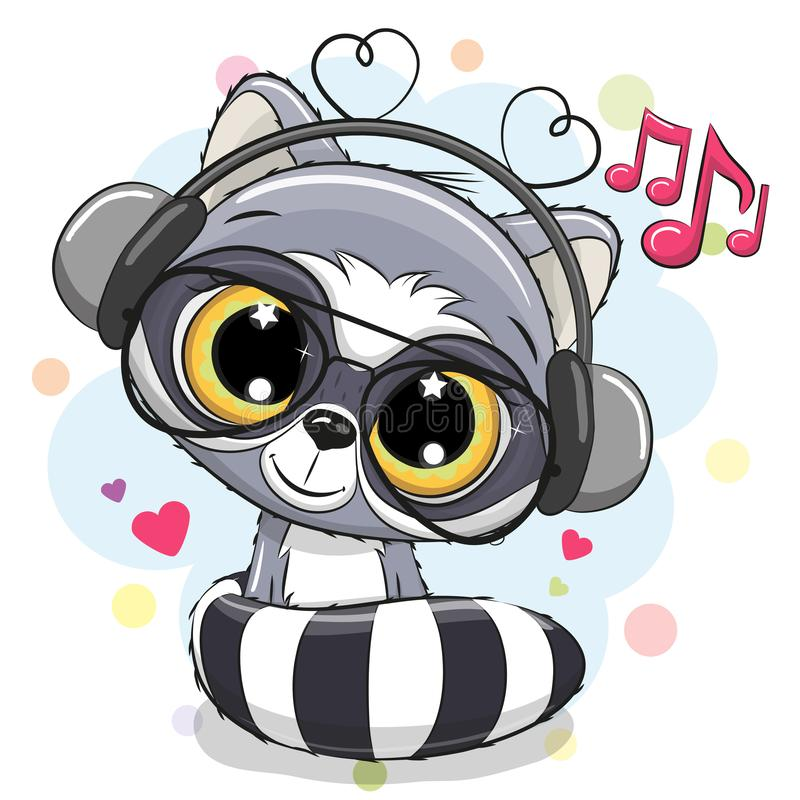Cute Cartoon Raccoon with headphones. On a white background stock illustration