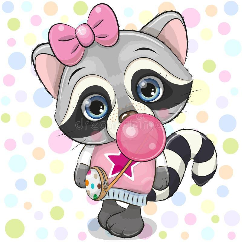 Cute Cartoon Raccoon with bubble gum. Cute Cartoon Raccoon in a pink hat with bubble gum royalty free illustration