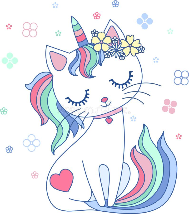 Cute, cartoon, rainbow cat unicorn. Vector royalty free illustration
