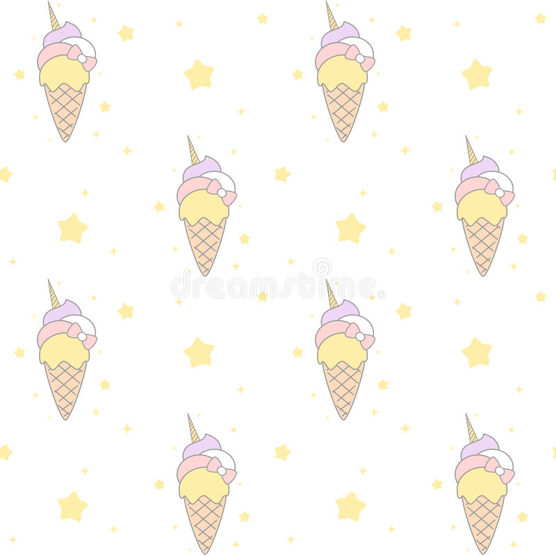Pattern Cute Colorful Ice Cream Textiles Stock Vector: Cute Cartoon Rainbow Unicorn Ice Cream Seamless Pattern