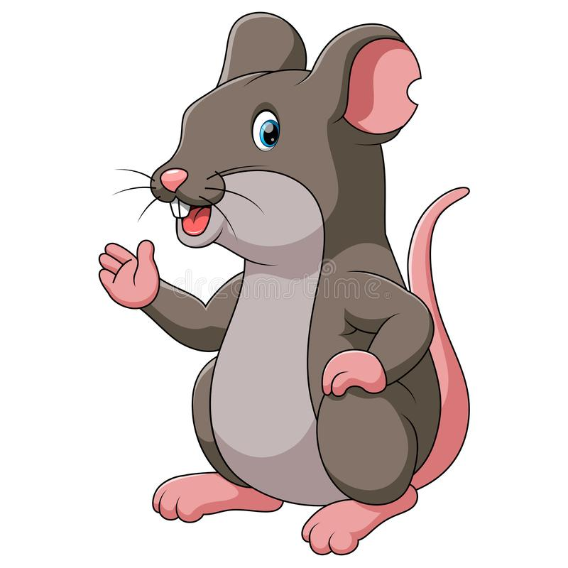 Cute cartoon rat is pointing royalty free illustration