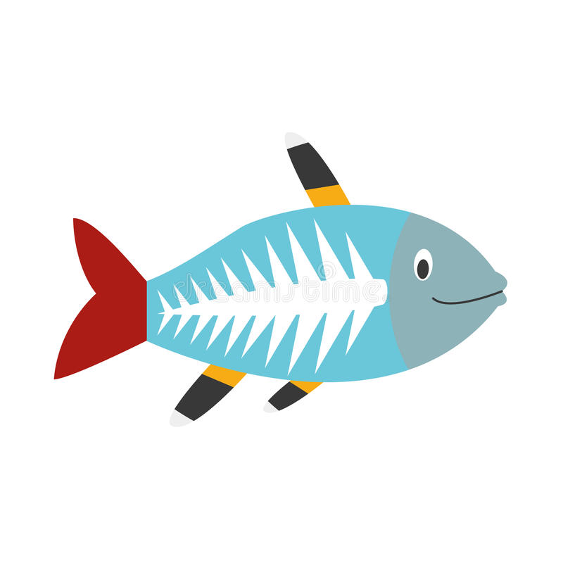 Cute cartoon x-ray fish vector illustration royalty free illustration