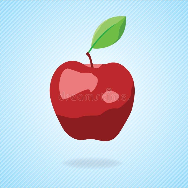 Cute Cartoon Red Apple. Vector Illustration Royalty Free Stock Image
