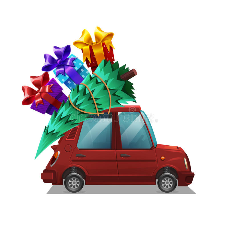 Cute cartoon red car with Christmas tree and gifts isolated on white background. royalty free illustration