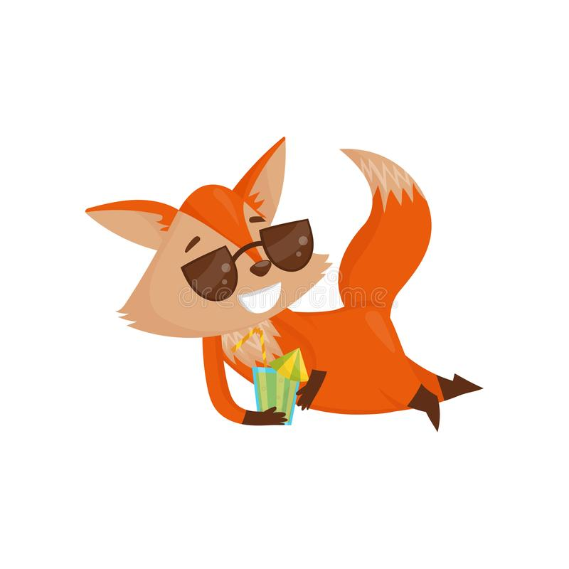 Free Cute Cartoon Red Fox Character In Sunglasses Drinking Cocktail, Funny Animal On Vacation Vector Illustration On A White Stock Image - 114610931